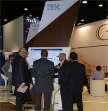 Visitors on the IBM booth